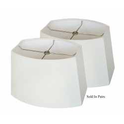 Hard Back Off White Linen Oval Rectangular Lamp Shades - Price is Per Pair
