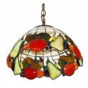 "Tiffany Style Pendant with Fruit Decorations 13 1/2"" Dia"