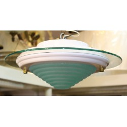 "Ceiling Fixture Deco Style 13"" Dia. with Pull Chain"