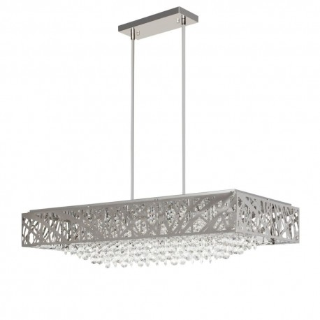 "Finesse Decor FN-1151 10 Light 39"" Wide Crystal Linear Chandelier"