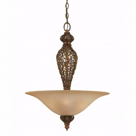 Antiqued Gold Pendant Light Hanging Jewel Amber Bowl Chandelier Triarch 39642-20