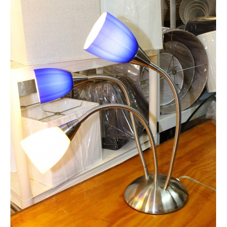 Lumisource Medusa Three Light Table Lamp - Blue & White Shades