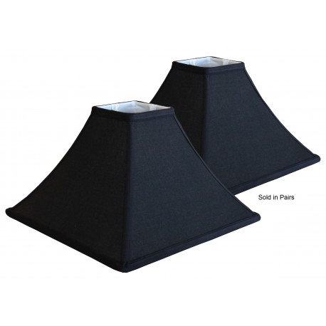 "Black Linen Soft Back Lampshades (4"" x 4"")x(13"" x 13"") x 9"" - Price is for a Pair"