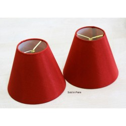 """Clip On Red Silk Shades 3"""" x 6"""" x 5"""" Sold as a pair"""