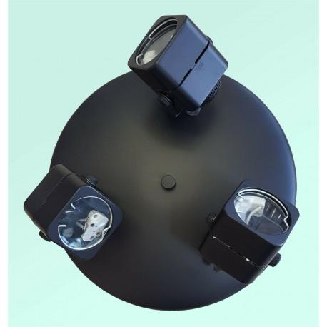 3 light Round Ceiling Fixture - Black