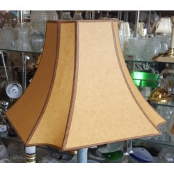 "Beige Paper with Brown trim Hard Back Lamp Shade -(5""x5"") x (13"" x 13"") x 9 1/2"""