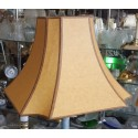 """Beige Paper with Brown trim Hard Back Lamp Shade -(5""""x5"""") x (13"""" x 13"""") x 9 1/2"""""""