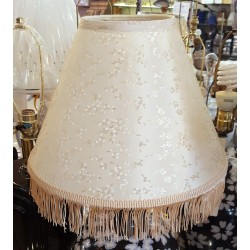 """Flower Print on Lamp Shade with Fringe - 6"""" x 15"""" x 11"""" Sold as a pair."""