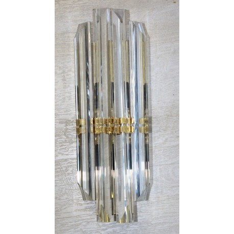 "Wall Sconce Fluted Murano Glass with Brass Finish 17 1/2"" H"