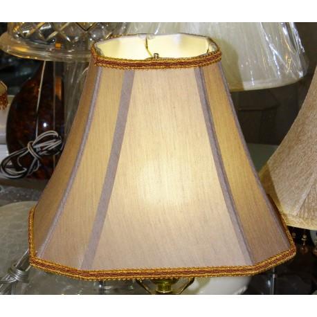 "Brownish Gray Silk Lamp Shade w/Trim (5"" x 5"") x (11"" x 11"") x 9"""