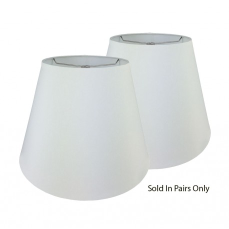 """White Linen Hardback Shade Rolled Edge - 6"""" x 10"""" x 8 1/2"""" Price is for a Pair"""