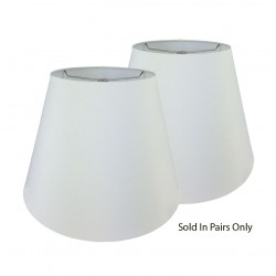 "White Linen Hardback Shade Rolled Edge - 6"" x 10"" x 8 1/2"" Price is for a Pair"