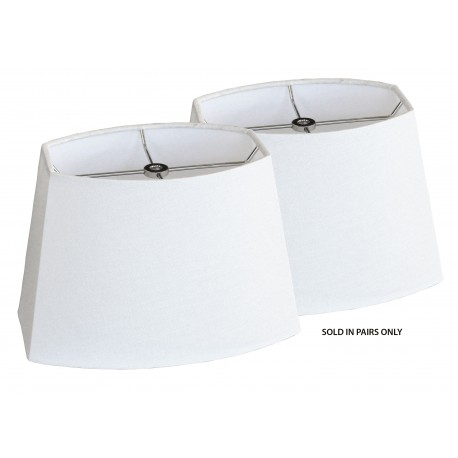 """Scored Chipped Oval Shade White Linen - (4"""" x 6"""") x (6"""" x 9"""") x 6 1/2"""" Pair"""