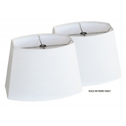 "Scored Chipped Oval Shade White Linen - (4"" x 6"") x (6"" x 9"") x 6 1/2"" Pair"