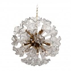 Murano Clear Glass Flower Sputnik Chandelier