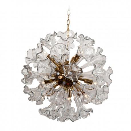 Murano Clear Glass Flower Sputnik Chandelier