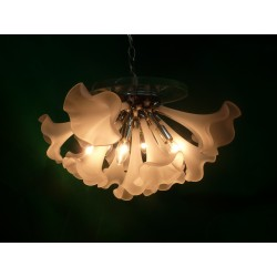 Halfmoon Murano Clear Glass Flower Sputnik Chandelier