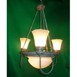 Chandelier green antique finish.