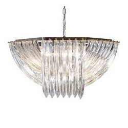 1970's Murano Venini Crystal Chandelier Light Fixture.