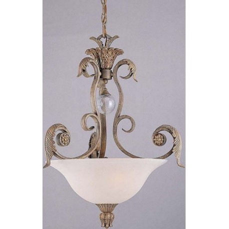 Triarch International 29662 Antique Gold Pendant, Frosted Glass Bowl